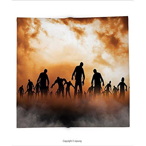 Custom printed Throw Blanket with Halloween Decorations Collection Zombies Dead Men Body Walking in the Doom Mist at Dark Night Sky Haunted Decor Orange Super soft and Cozy Fleece Blanket