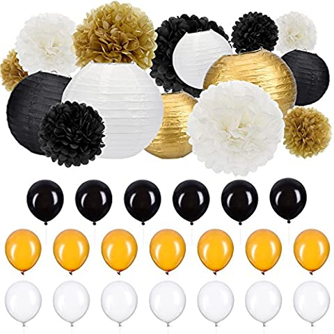 Outus 35 Pieces Party Decor Kit Tissue Paper Pom Poms Paper Lanterns Party Balloons Black White Gold for Party Wedding Supplies Birthday (White And Gold Supplies)