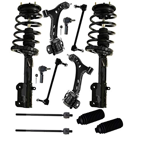 - Detroit Axle - 12PC Front Strut & Coil Spring Assembly, Front Lower Control Arms w/Sway Bars, Inner Outer Tie Rods w/Rack Boots for 2005-2008 Ford Mustang Base & GT (Excluding Shelby or Bullitt)