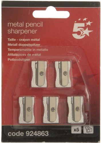 5 Star Pencil Sharpener Pocket-sized Metal for Max. Diameter 8mm Single Hole [Pack of 5]