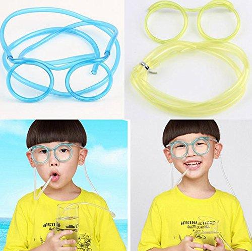 Qich® 5pcs DIY straws Silly multi-colors Glasses Drinking Straw Eyeglass Frames for partyfun (Straw Eyeglass)