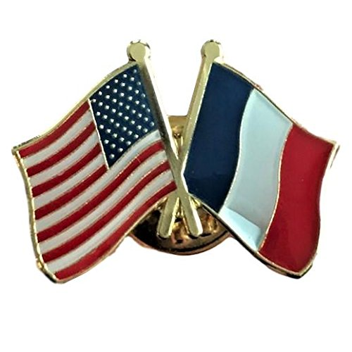 Backwoods Barnaby USA-France Friendship Pin/American French Crossed Flags Broach