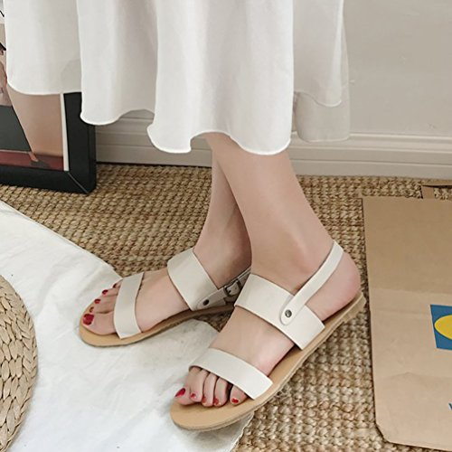Pantofole Bassi Le Sandali Comode E Bianca Donne Open Slingback Con toe Per Fibbia Beach Jitong Piatte Shoes qXw8W0rX