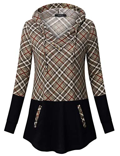 VALOLIA Women's Long Sleeve Plaid Pullover Color Block Hooded Sweatshirt with Kangaroo Pockets – DiZiSports Store