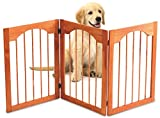 Kleeger Wooden Pet Gate, Foldable & Freestanding, For Indoor Home & Office Use. Keeps Pets Safe [ Natural Classic Arch Decorative Design]. Easy Set Up, No Tools Required. …
