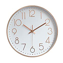 jomparis Modern Wall Clock Silent Non-Ticking Quartz Sweep Decorative Battery Operated Wall Clocks for Home Living Room Bathroom School,Rose Gold Plastic Frame Glass Cover (12 Inch, Arabic Numeral)
