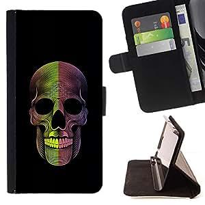 Momo Phone Case / Flip Funda de Cuero Case Cover - Cráneo de la muerte Metal Rock Negro - Samsung Galaxy J3 GSM-J300