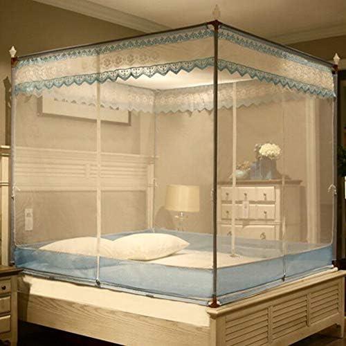 蚊帳テント,レース刺繍 モンゴルユルトドームネット 4コーナーベッドキャノピー(ダブルベッド用3開口部付) -g