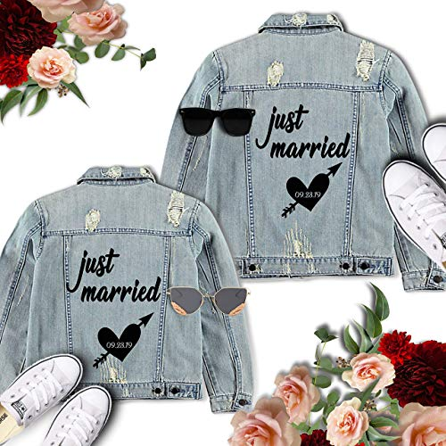 - Bride Groom Jackets Bride Groom Denim Decals His and Hers Leather Jacket Stickers Wedding Iron on Transfers Just Married Jacket Decals Wedding Photo Props Jacket Heat Transfer DIY Transfer DIY