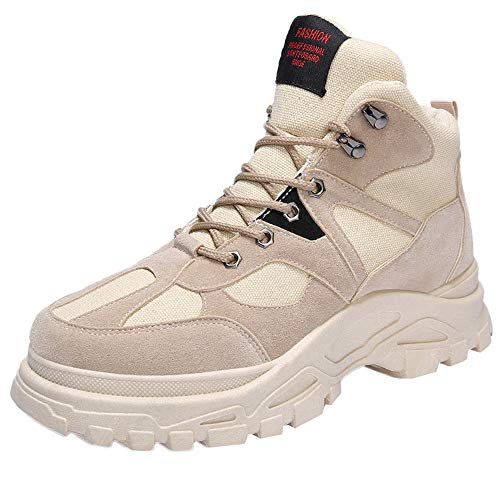Men's Shoes HOSOME Men Retro Keep Warm Tooling Shoes Thick Bottom Desert Boots Gift for Boyfriend Beige