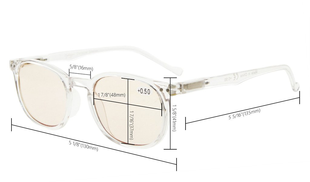 Eyekepper Vintage UV Protection Reading Glasses with Anti reflective Coating 0.50 Strength Readers(Amber Tinted Lens-Transparent) by Eyekepper (Image #3)