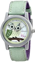 Sprout Women's ST/5512MPLG Light Green Organic Cotton Strap Blue Owl Dial Watch