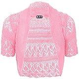 Jolly Rascals Girls Crochet Bolero Shrug Kids Knitted Short Sleeve Cardigan Orange 9-10 yrs