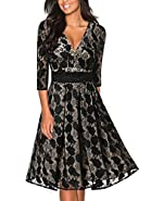 Tuliplazza Women V-neck Floral Lace Lined Formal Cocktail Prom Party Midi Dress