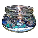 OrgoNight Pyramid Aromatherapy Gel Candle `Light UP the Orgo-NITE` ~ 8 oz. jar, orgone energy emf protection device with Amber Resin Essential Oil ~Surprise Gemstone Pendant Embedded in Each Candle