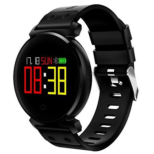 K2 Bluetooth Smartwatch Waterproof IP68 Heart Rate/Blood Pressure/Blood Oxygen Smart Watch For Ios/Android Phones,Black (K2 Goods Sporting)