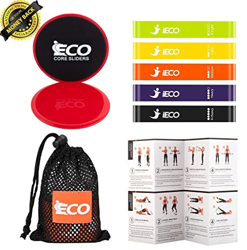 Resistance Loop Exercise Bands (5), Dual Sided Exercise Core Sliders (2), Full Body Workout at Home and Outdoor Fitness, Stretching, Physical Therapy, Including Bonus Instruction Guide, Carry Bag