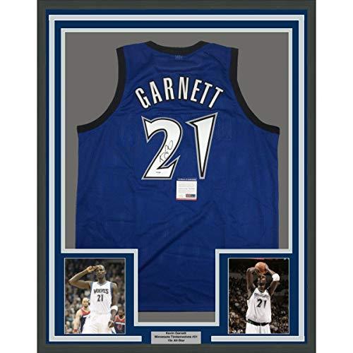 Framed Autographed/Signed Kevin Garnett 33x42 Minnesota Blue Basketball Jersey PSA/DNA COA