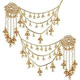 I Jewels Gold Plated Pearl & Kundan Bahubali Earrings with Hair Chain for Women (E2610FL)