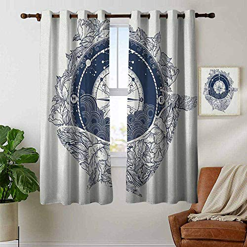 petpany Bedroom Curtains 2 Panel Sets Adventure,Antique Marine Compass and Floral Whale Figure Mystical Victorian Vintage, Dark Blue White,Complete Darkness, Noise Reducing Curtain 42