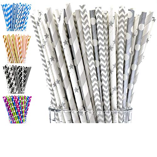 Grey Straw - Paper Straws Biodegradable by Party Girl Kim - 200 Box | Silver Grey Paper Straws | Click to See All Colors | Colorful Disposable Paper Drinking Straws add Fun with Eco Friendly Straws (Grey Silver)