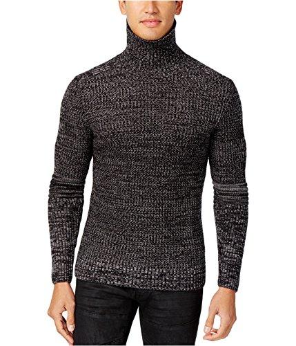INC Deep Mens Marled-Knit Textured Roll-Neck Sweater Black 2XL