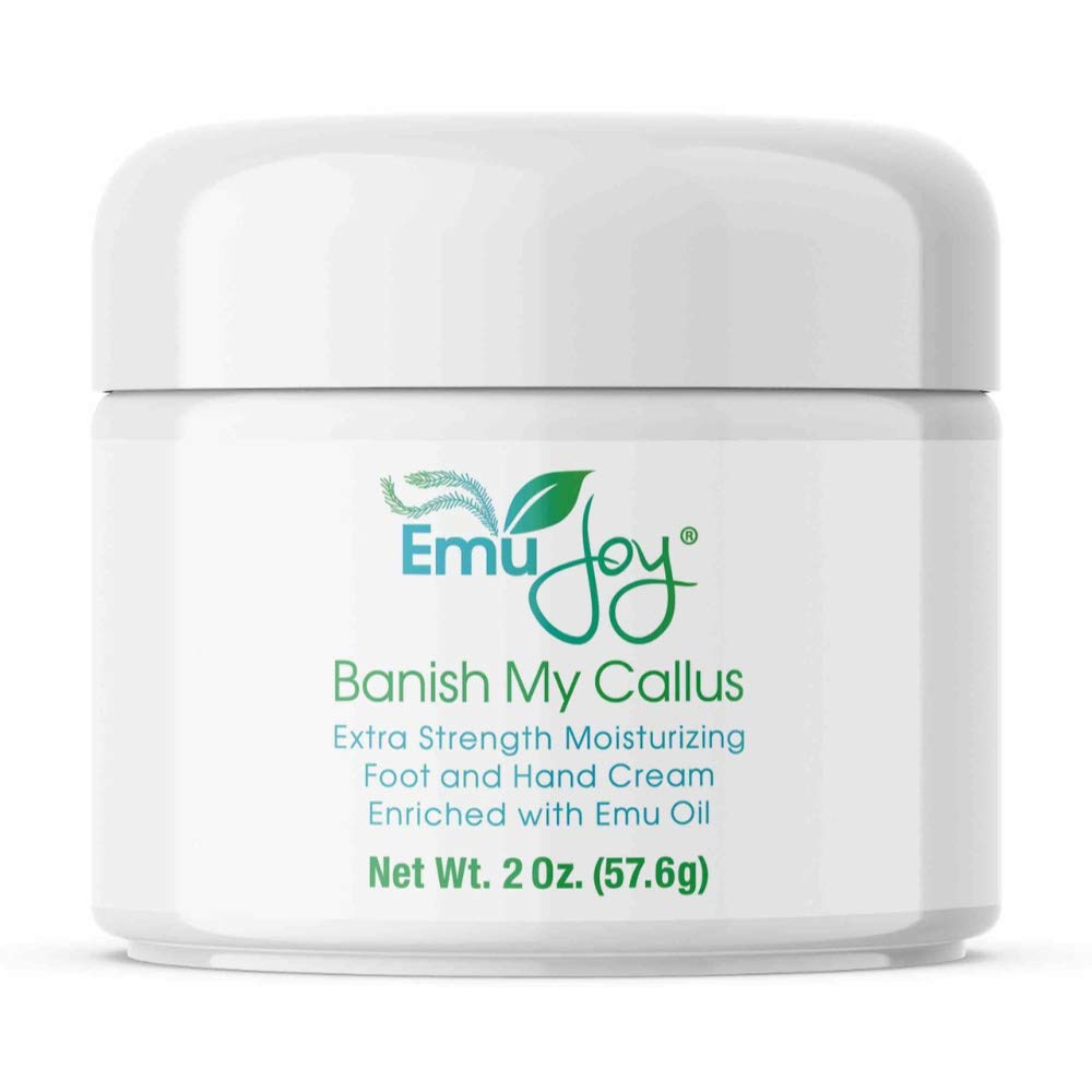Banish My Callus All Natural Hand Cream Foot Cream For Dry Cracked Feet, Hands, Heels, Elbows, Nails, Knees. Intensive Repair while Moisturizing & Softening Skin with Grade A Emu Oil