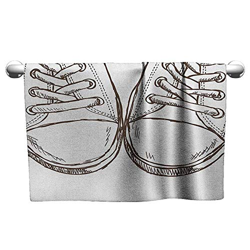 clayee Gym Hand Towels Doodle,Sneakers in Hand Drawing Style Casual Footwear Teenager Urban Lifestyle Theme, Dark Brown White,Towel for Toddler ()