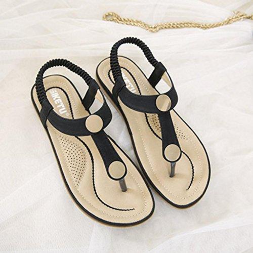 hunpta Women Flat Shoes Bead Bohemia Lady Slippe Sandals Rivet Peep-Toe Outdoor Shoes Black jiW1HKHJHF