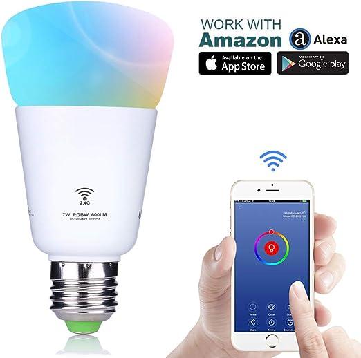 U2 C WiFi Smart luz LED Bombilla, voz y Smartphone App controlado ...