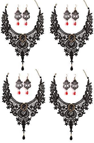 SEVENSTONE 4 Pcs Black Lace Necklace Earrings Set - Gothic Lolita Pendant Choker Clothing Accessories for Wedding Birthday Hallowen Christmas Custume ()
