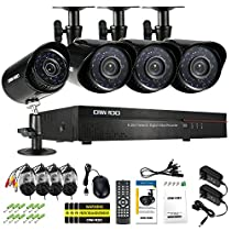 OWSOO Weatherproof 4CH 960H/D1 800TVL CCTV Surveillance DVR Security System HDMI P2P Cloud Network Digital Video Recorder&4 Outdoor/Indoor Infrared Bullet Camera&460ft Cable support IR-CUT