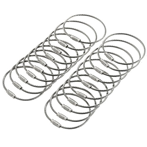 bayite BYT-WKC-053 6 Inches Stainless Steel Wire Keychains 2mm Cable Key Rings Luggage Loops Heavy Duty Pack of 20