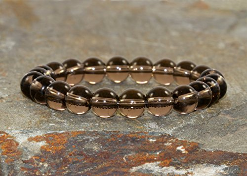 A Grade 8mm Smoky Quartz Bracelet, Smokey Quartz, Eases Depression, Wrist Mala Beads, Yogi Gift, Protection - Grounding - Stress Relief
