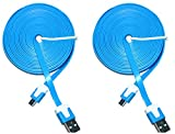 2 Pack of Blue 3 Feet Flat Micro USB Cable For Sony Xperia Z3 Z4 E4 M4 Aqua Z2 C4 Z3+ Ericsson Phone Android 2.0 Data Cord For Charger