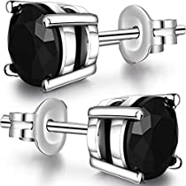 Han han 925 Sterling Silver Black Stud Earrings for Men Women,4mm-7mm Available