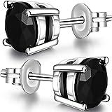 CZ Diamond Stud Earrings,Sterling Silver Black Stud Earrings,Round Cut Cubic Zirconia Crystal Stud Earrings 7mm,Unique Fashion Simulated Diamond Stud Earrings Nickel Free,Hypoallergenic Silver Earring
