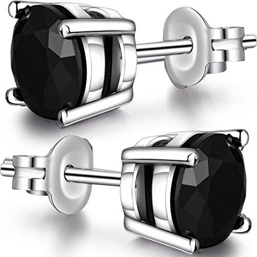 Fake Diamond Stud Earrings,Sterling Silver Round Cut Cubic Zirconia Stud Earrings Black Stud Earrings,18K Gold Plated Princess Cut Simulated Diamond CZ Stud Earrings Simple 5mm Women/Men CZ Stud (Black Zirconia)