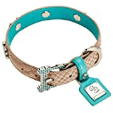 Chrome Bones Mojave LTD Pet Collar, Small, Tan/Blue