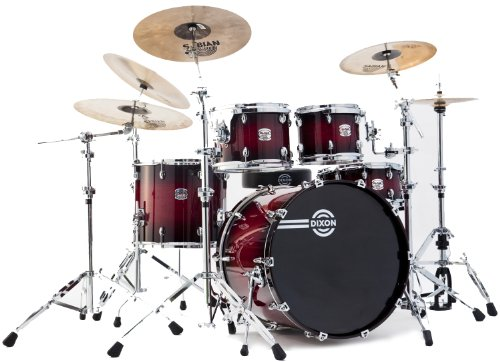 Dixon Blaze PODBZ522STBR 5-Piece Drum Set, Gloss See Through Red Burst (Professional Drum Set)