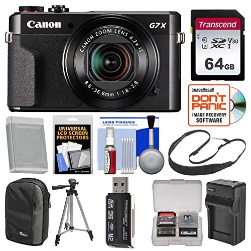 Canon PowerShot G7 X Mark II Wi-Fi Digital Camera with 64GB Card + Case + Battery & Charger + Tripod + Sling Strap + Kit