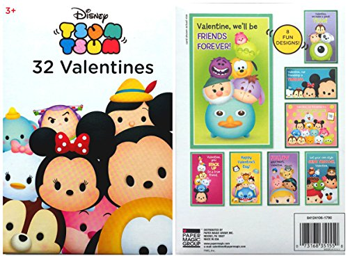 Disney Tsum Tsum 32 Fold and Seal Valentines Cards Featuring Minnie, Mickey, Stitch, Eeyore, Buzz Lightyear (Toy Story), Pluto, Chip and Dale (Chipmunks) and Many More