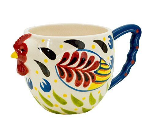 Boston Warehouse Earthenware Mug, Colorful Rooster (Colorful Chicken)