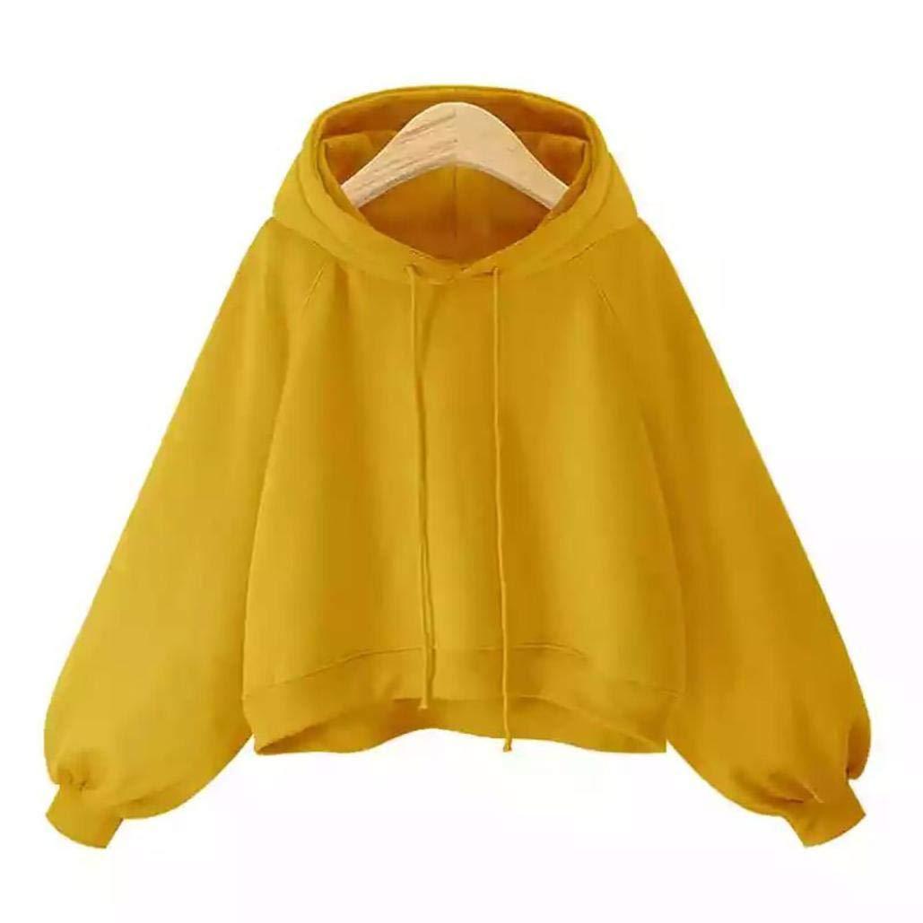 Clearance! Women Casual Lantern Sleeve Hoodie Sweatshirt - vermers Women's Long Sleeve Loose Thin Hooded Tops Blouse(M, Yellow)