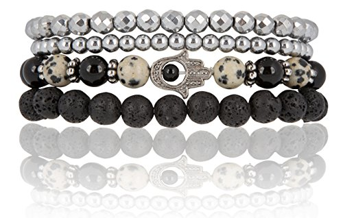 SPUNKYsoul Hamsa Charm Stretch Bracelet Onyx, Dalmatian & Lava Diffuser | Attracts Positive Energy Collection