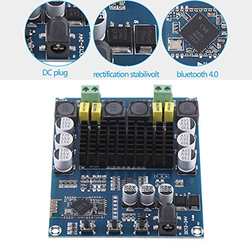 (TPA3116D2 Wireless Bluetooth 4.0 Dual Channel 120W+120W Audio Receiver Digital Amplifier Board DC 12V-24V for DIY Home Sound Car Audio)