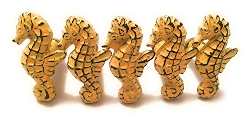 Rustic Iron Seahorse Cabinet Knobs Drawer Pulls Beach House Retro Boho Bohemian Decor by Mello Products (5 Pcs) (Sea Drawer Pulls Knobs)