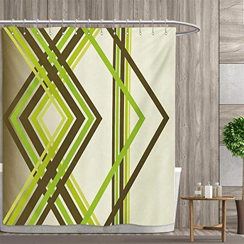 (smallfly Abstract Shower Curtains Digital Printing Geometric Trippy Diamond Shape Bands in Different Shade Illustration Satin Fabric Bathroom Washable 69