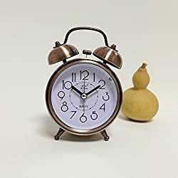 Ocamo Classic Alarm Clock Retro Vintage Silent Night LED Light Bell Desk Clock Great for Students Antique-Brass Color