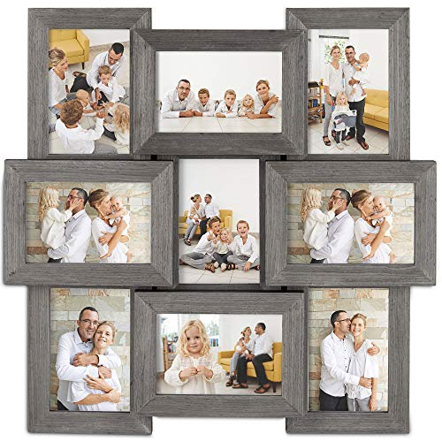 (VonHaus 9X Decorative Collage Picture Frames for Multiple 4x6 Photos - Grey Wooden Hanging Wall Photograph Frame with 9 Openings - Ideal as Personalized Gift for Friends and Family)